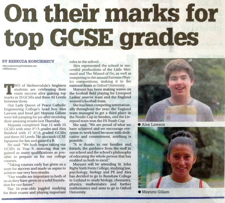 On their marks for top GCSE grades